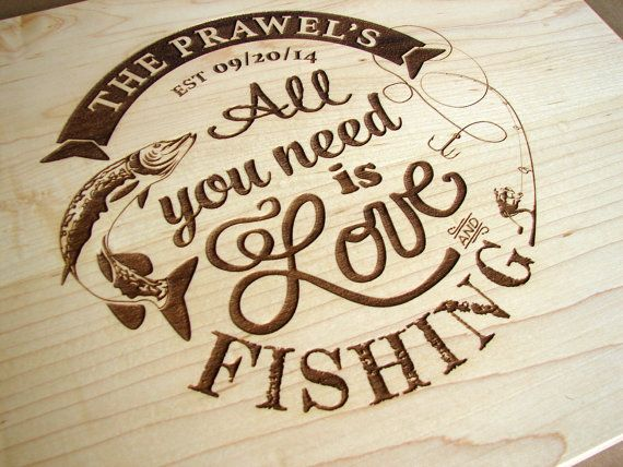 Fishing Personalized Cutting Board as by TheCuttingBoardShop