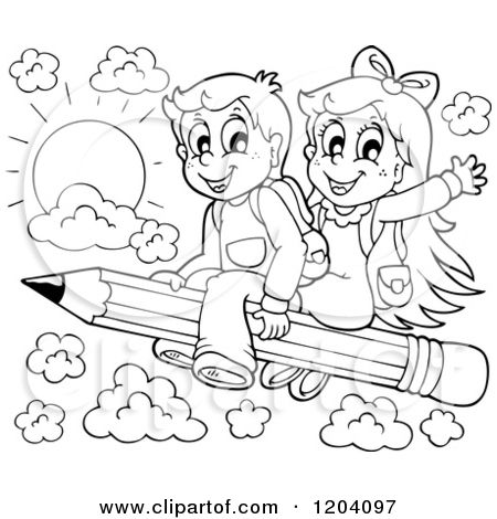Cartoon Of Black And White Happy School Children Flying On A Pencil