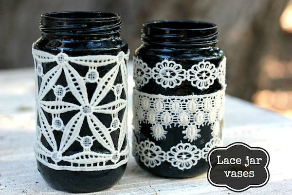 Black DIY lace vases for fall - you'll just need a few supplies!
