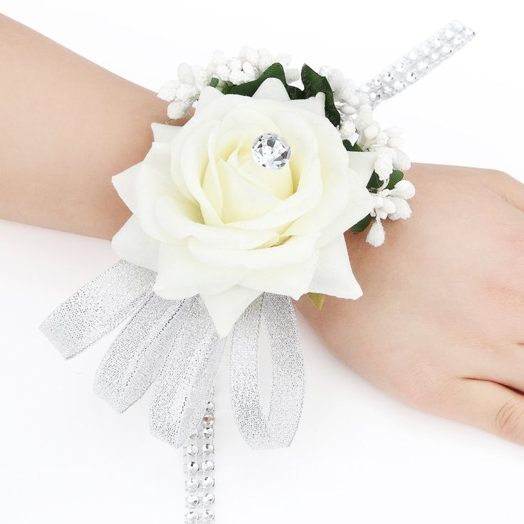 FAYBOX Velvet Open Rose Silvery Bling Ribbon Rhinestone Stretch Bracelet Wedding Prom Wrist Corsage Hand Flower Pack of 2 Ivory >>> Want to know more, click on the image.