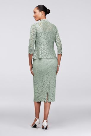 09074f06424b Scalloped Lace Tea-Length Petite Dress and Jacket | David's Bridal ...