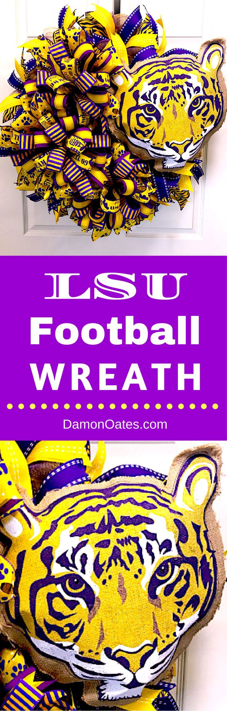 LSU College Football Wreath. Home decor for your front door by DamonOates.com / DecoExchange