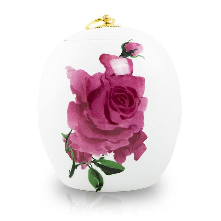 Ceramic Pet Cremation Urn - Watercolor Rose