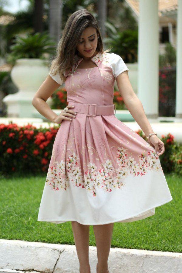 e9d561737 Vestido Godê Amanda Neoprene com Pregas - Moda Evangélica - Flor de Amêndoa