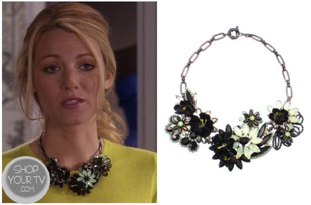 gossip girls serena red necklace season 3 | It is the Elizabeth Cole Jewelry Bountilful Bouquet Necklace in Jet ...