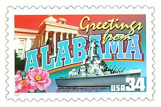 The Alabama State Postage Stamp  Depicted above is the Alabama state 34 cent stamp from the Greetings From America commemorative stamp series. The United States Postal Service released this stamp on April 4, 2002. The retro design of this stamp resembles the large letter postcards that were popular with tourists in the 1930's and 1940's.