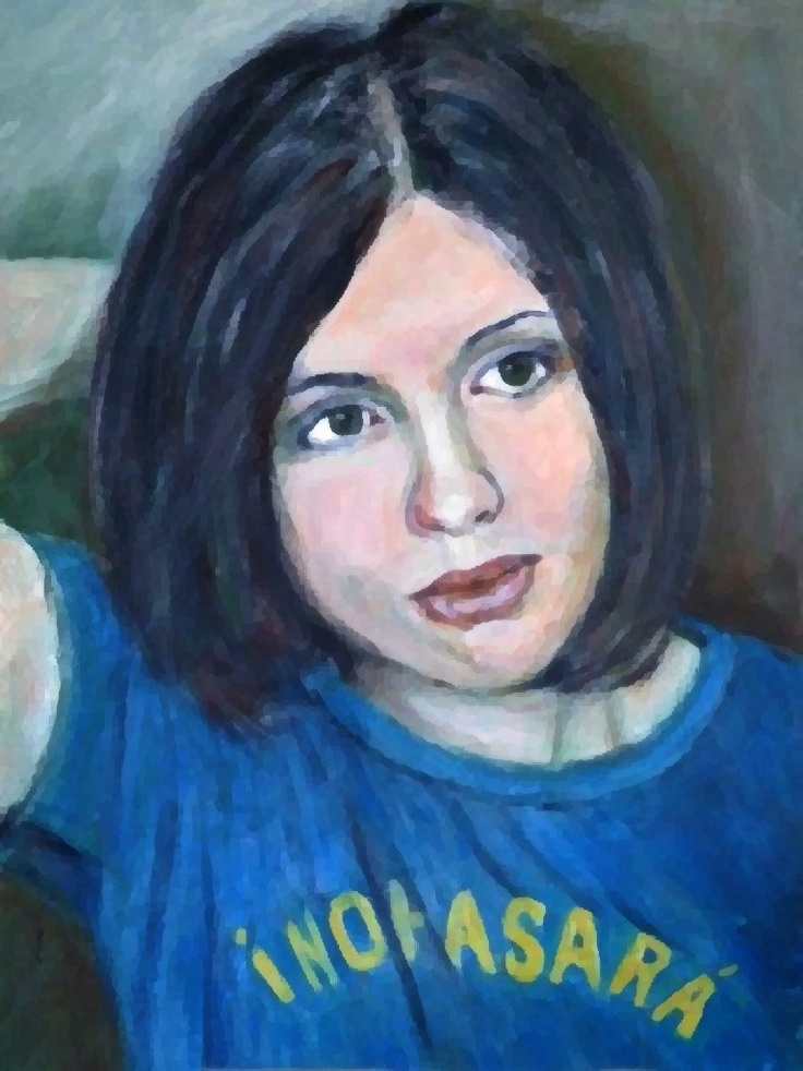 Still locked up in a Russian labor camp:  political activist Nadezhda Tolokonnikova, acrylic on paper