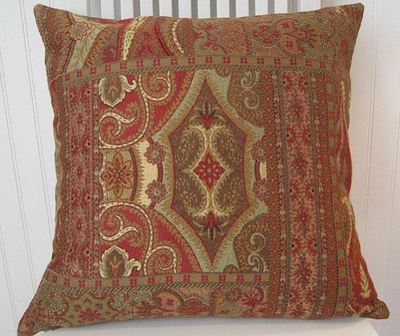 Ruby, Gold, Brown Decorative Pillow Cover, Throw Pillow Cover, Classic Pillow Cover -Lumbar Pillow Cover