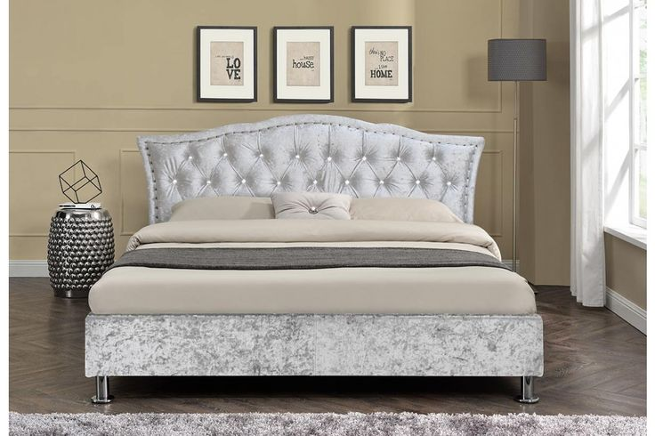 Georgio Silver Crushed Velvet Fabric Diamante Headboard Double King Size Bed Frame