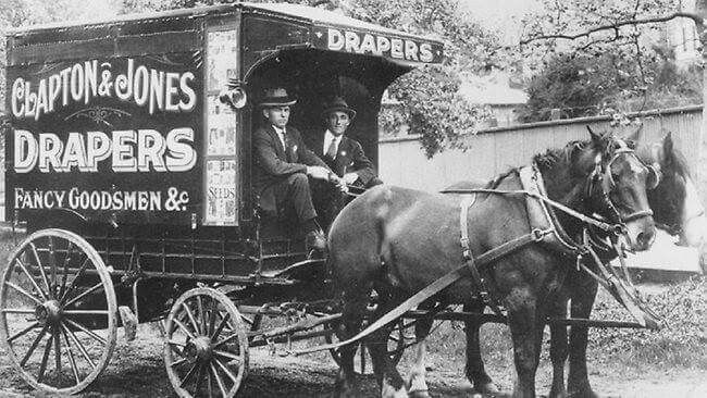 Clapton & Jones Drapers, Photo Features: Fletcher Jones on left, and Stan Clapton on right, in Ballarat, Victoria, in 1918.  v@e