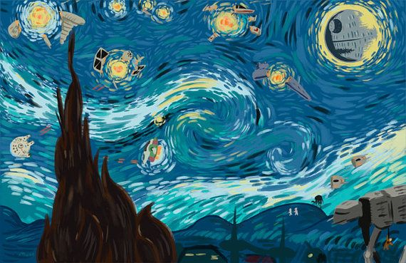 Starry Night Star Wars art print by newbpainter on Etsy, $30.00