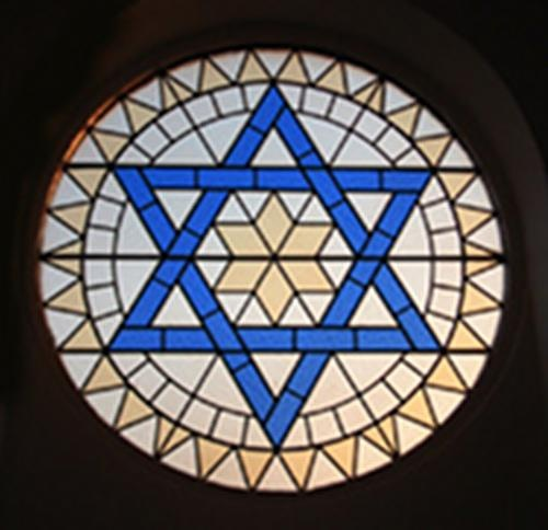 The Star of David heavenly lets the light shine through every synagog.