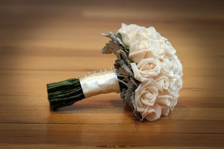 Gorgeous bouquet of ivory roses, with silver suede foliage #weddings  www.RedEarthFlowers.com.au