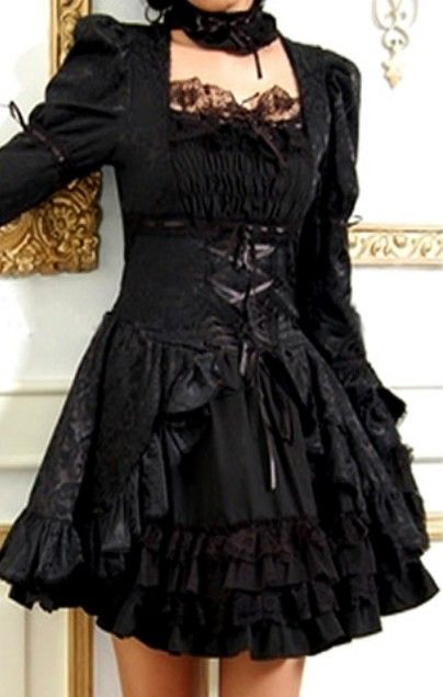 """Black Tea Length Long Sleeve Punk Gothic Dress. Don't really care for the sleeves but a cute dress over all."" no sleeves or just half length"