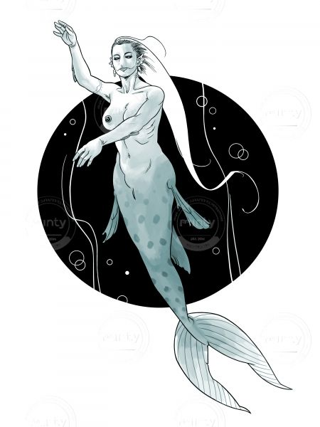 Realistic mermaid swims in dark waters via mintystock.com