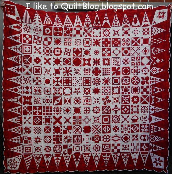 Dear Jane, red and white, by Bente in Germany, at Iliketoquiltblog.blogspot.com: