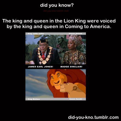 "The King & Queen from ""The Lion King"" (Mufasa & Sarabi) were voiced by the King and Queen from ""Coming to America"" (Jaffe Joffer & Aoleon) actprs James Earl Jones & Madge Sinclair."