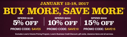 Lowes Canada Buy More Save More Sale Event: Save 5% 10% or 15% off with Promo Codes! http://www.lavahotdeals.com/ca/cheap/lowes-canada-buy-save-sale-event-save-5/163922?utm_source=pinterest&utm_medium=rss&utm_campaign=at_lavahotdeals