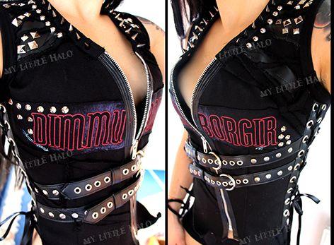 Dimmu Borgir spiked and studded black metal vest - My Little Halo