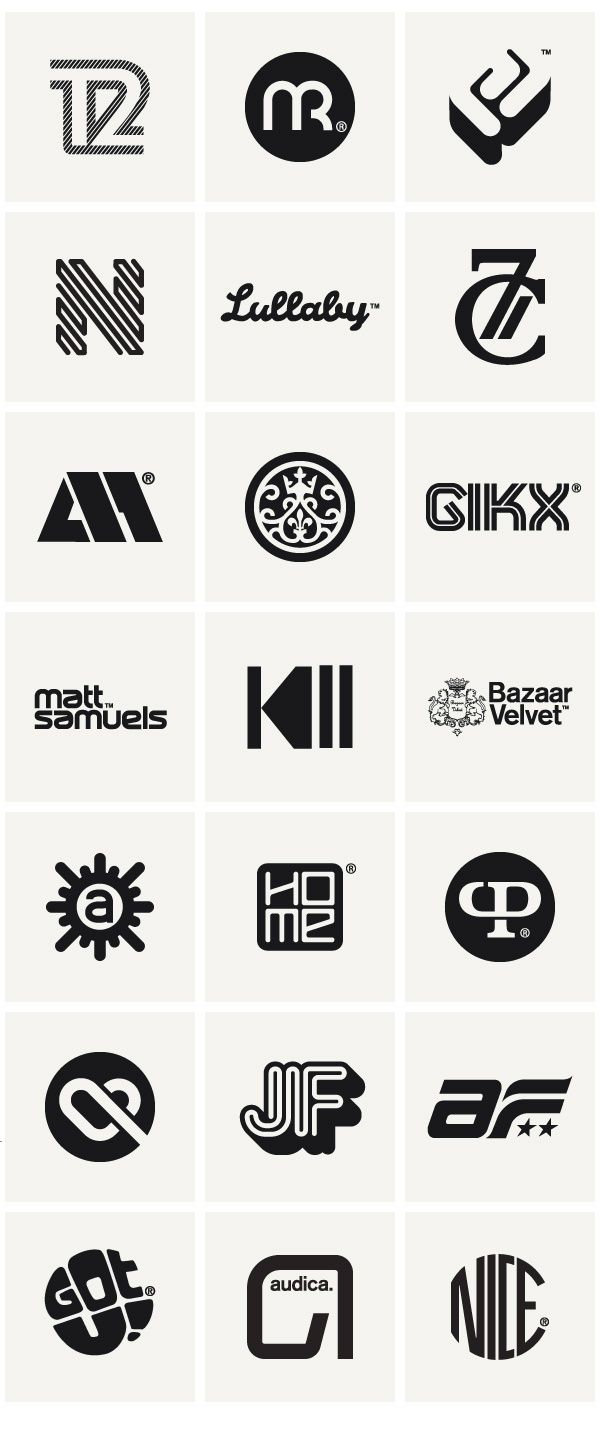 A collection of clean and bold brand identities.