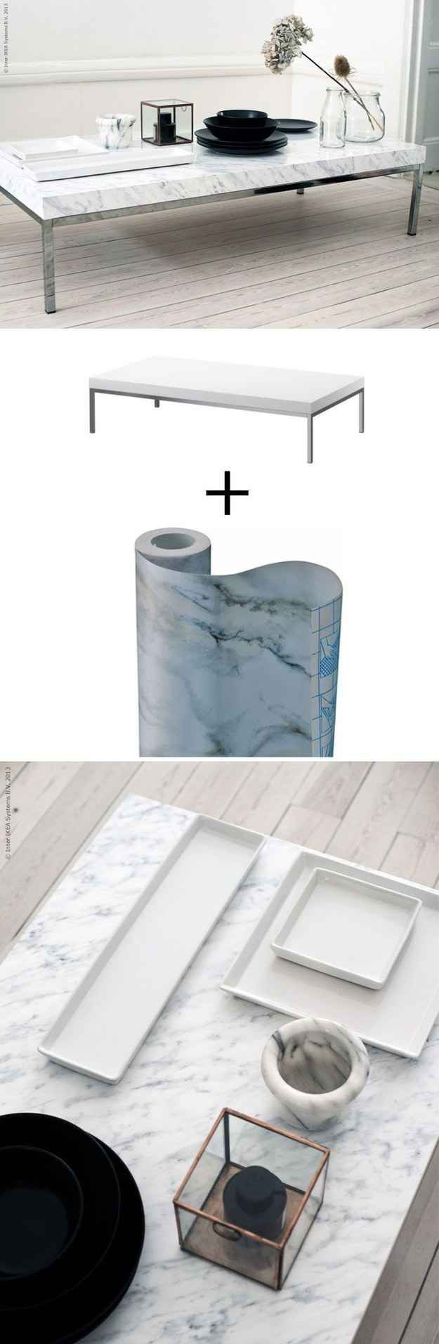 Cover the KLUBBO Coffee Table ($49.99) with marble contact paper. | 37 Cheap And Easy Ways To Make Your IKEA Stuff Look Expensive: