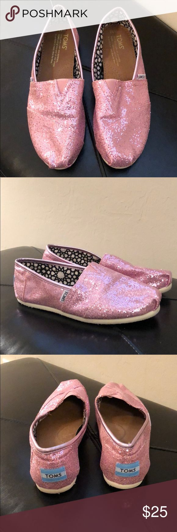Toms pink sparkly flats Worn only a few times, in good condition. Sparkly pink Toms Shoes Flats & Loafers