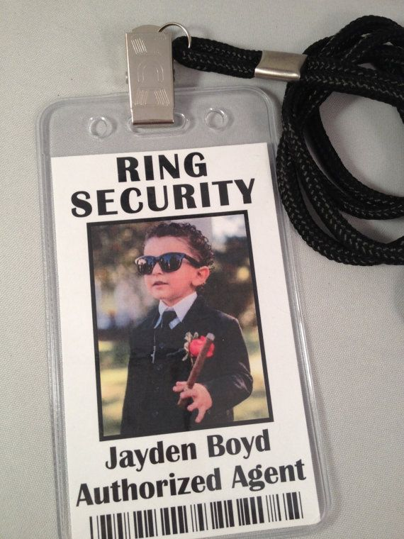The perfect accessory and keepsake for any Ring Bearer / Ring Security Agent! Personalized with a color photo and name of your Ring Security Agent!