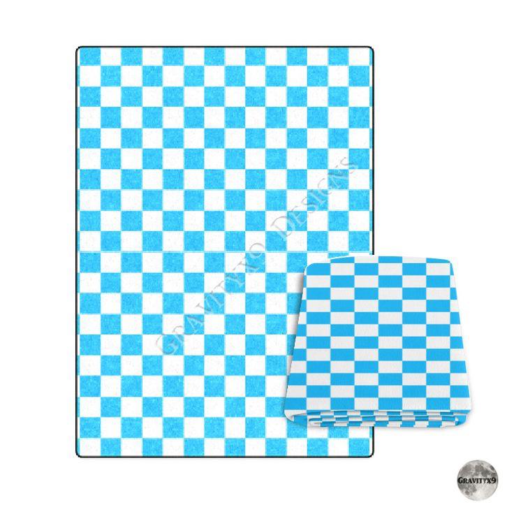 Cozy Winter Homedecor: Retro Blue Checkerboard Blanket 58