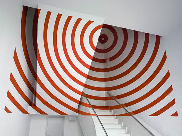 Anamorphosis  Created by Felice Varini. Anamorphosis is a distorted projection or perspective requiring the viewer to use special devices or occupy a specific vantage point to reconstitute the image.