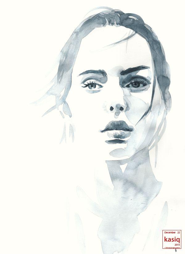 20151222 watercolor on paper #kasiq #illustration #style #painting #fashion #fashiondrawings #fashionillustration #이정우 #magazine #model #수채화 #일러스트 @annacrysell #watercolor