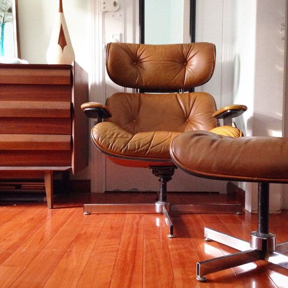 Mid Century Modern Brown Leather Lounge Chair and by remodernnyc