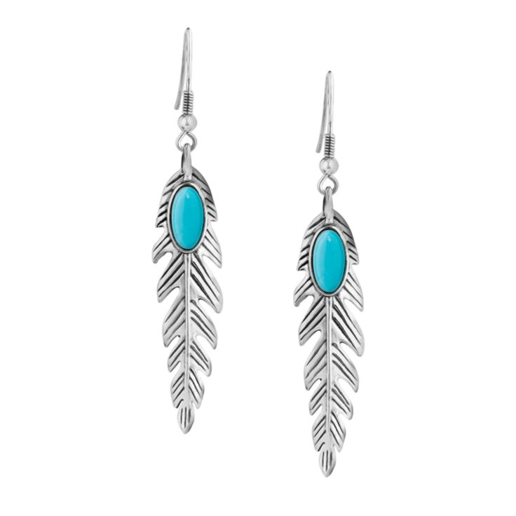 Carolyn Pollack Jewelry | American West Blue Turquoise Feather Dangle Earrings