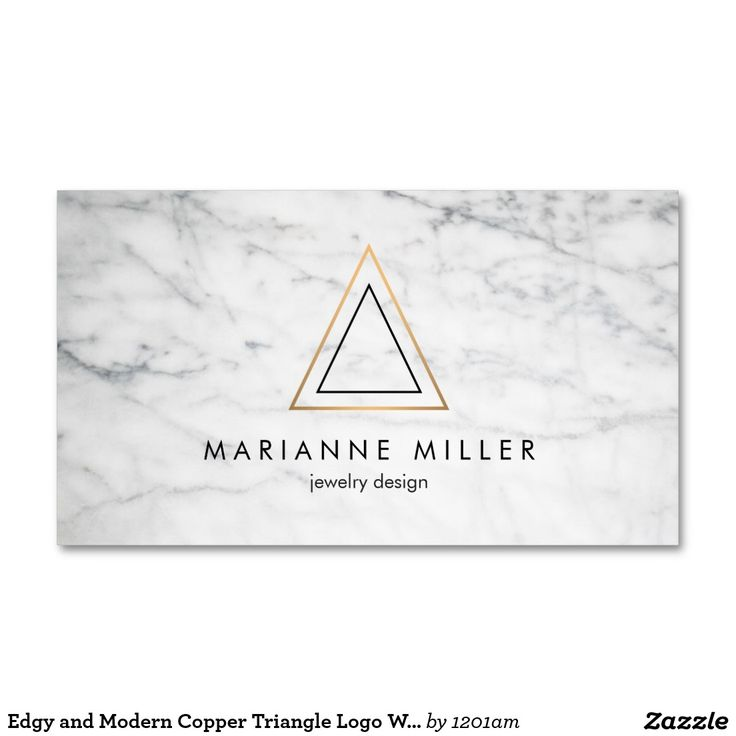 Edgy And Modern Copper Triangle On White Marble Business Card Template