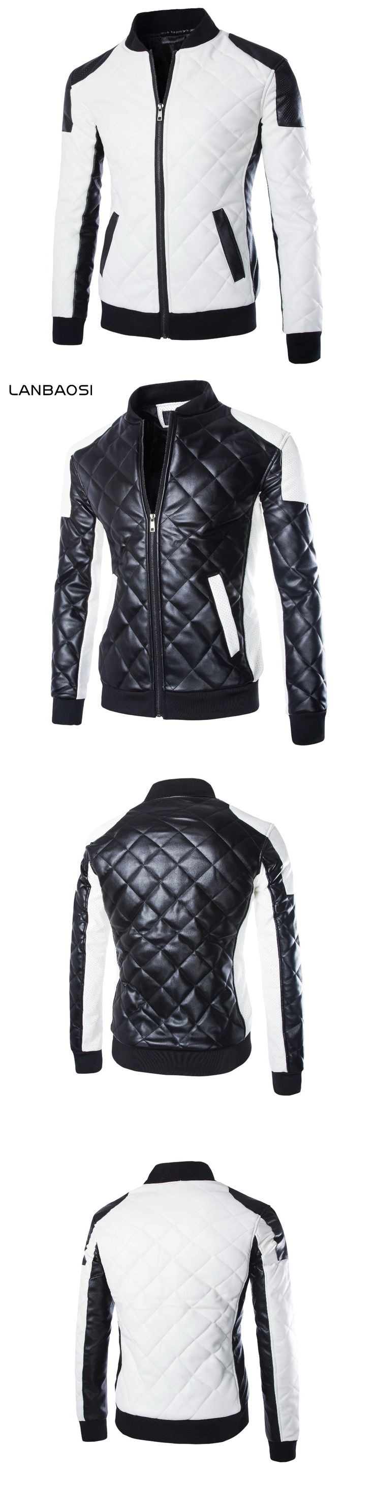LANBAOSI PU Leather Motorcycle Jacket Men Jaqueta Couro Rib Bottom Patchwork Mandarin Collar Inverno Couro Jacket Coat Plus Size