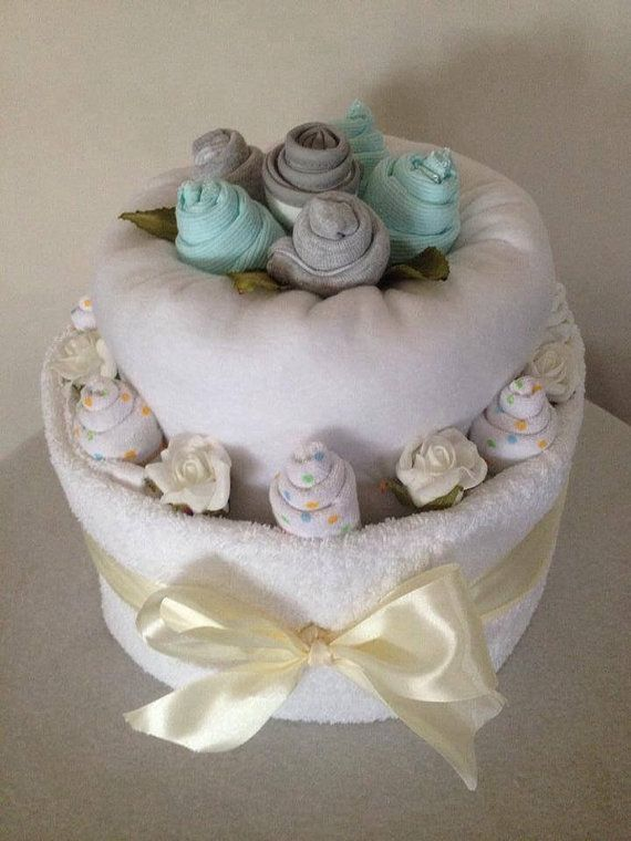 Deluxe two tier nappy cake by HolliesNappyCakes on Etsy