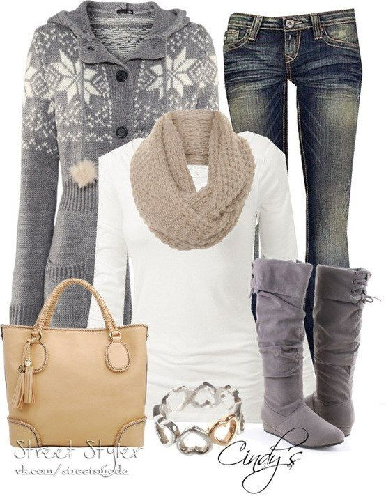 Love this scarf and top with the boots. Purse & bracelet are cute too.