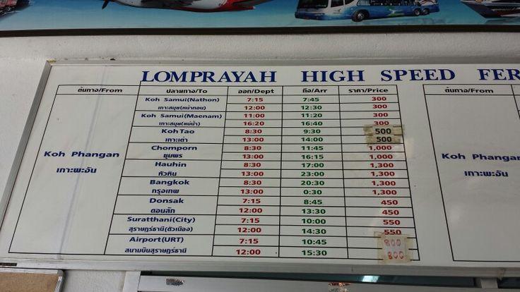 Timetable from Koh Phangan (Lomprayah)