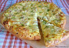 Вкусно и полезно. Открытый пирог с зеленью и творогом.