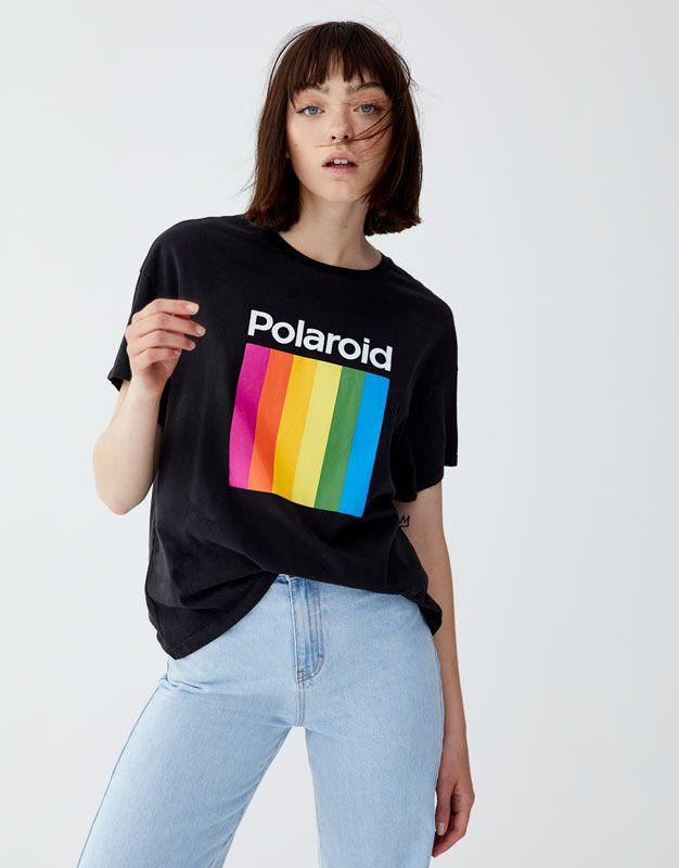 953242df4e3 Polaroid T-shirt with multicoloured logo in 2019 | casual style ...