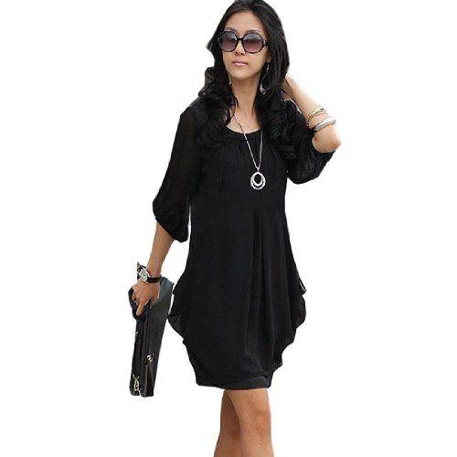 Hot Women Korean Loose Chffion Long Sleeve Party Casual Blouse Dresses Plus Size,Medium,Black Fancy Dress Store,http://www.amazon.com/dp/B00E5ZV5W8/ref=cm_sw_r_pi_dp_aF4ytb0N7SZZ2YJ1