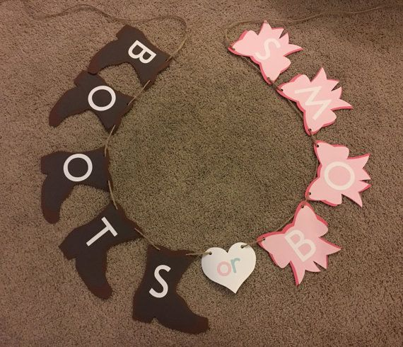 Gender Reveal Banner Boots or Bows by nmkcrafts on Etsy