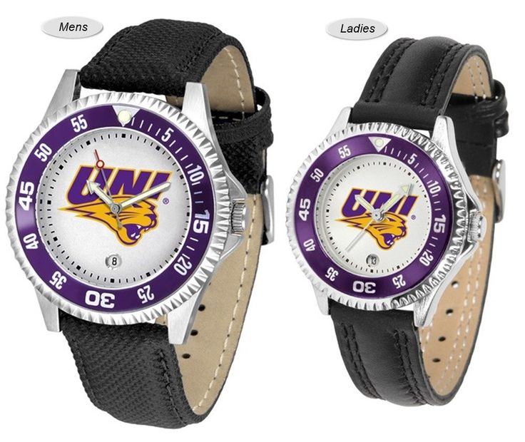 The Competitor Sport Leather Northern Iowa Panthers Watch is available in your choice of Mens or Ladies styles. Showcases the Panthers logo. Free Shipping. Visit SportsFansPlus.com for Details.