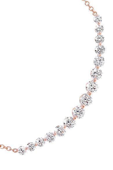 Anita Ko - Large Crescent 18-karat Rose Gold Diamond Necklace - one size