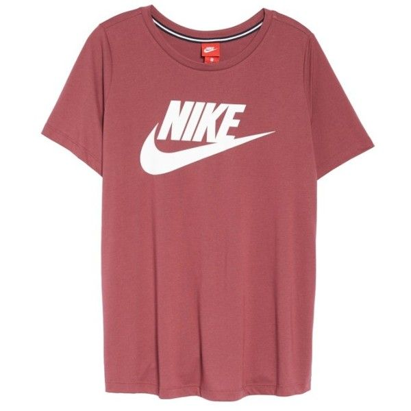 Plus Size Women's Nike Essential Tee ($40) ❤ liked on Polyvore featuring tops, t-shirts, women's plus t shirts, nike t shirt, logo t shirts, womens plus tops and nike tee