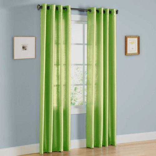 Sheer Curtains 63 sheer curtains : 1 faux silk window panel semi sheer curtain grommet nancy lime ...