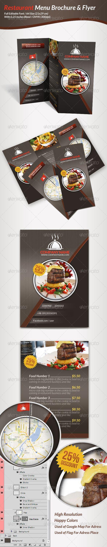 Restaurant Menu Brochure & Flyer - Food Menus Print Templates
