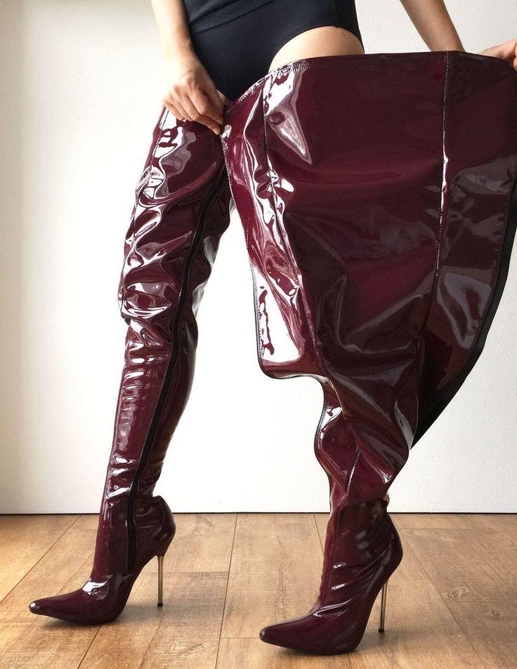 12cm Weapon Silver Metal Stiletto Heel Crotch Hi Show Boot Patent Shiny PVC Raisin Wine