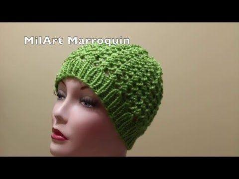 Gorra crochet para Invierno 2 Agujas - YouTube