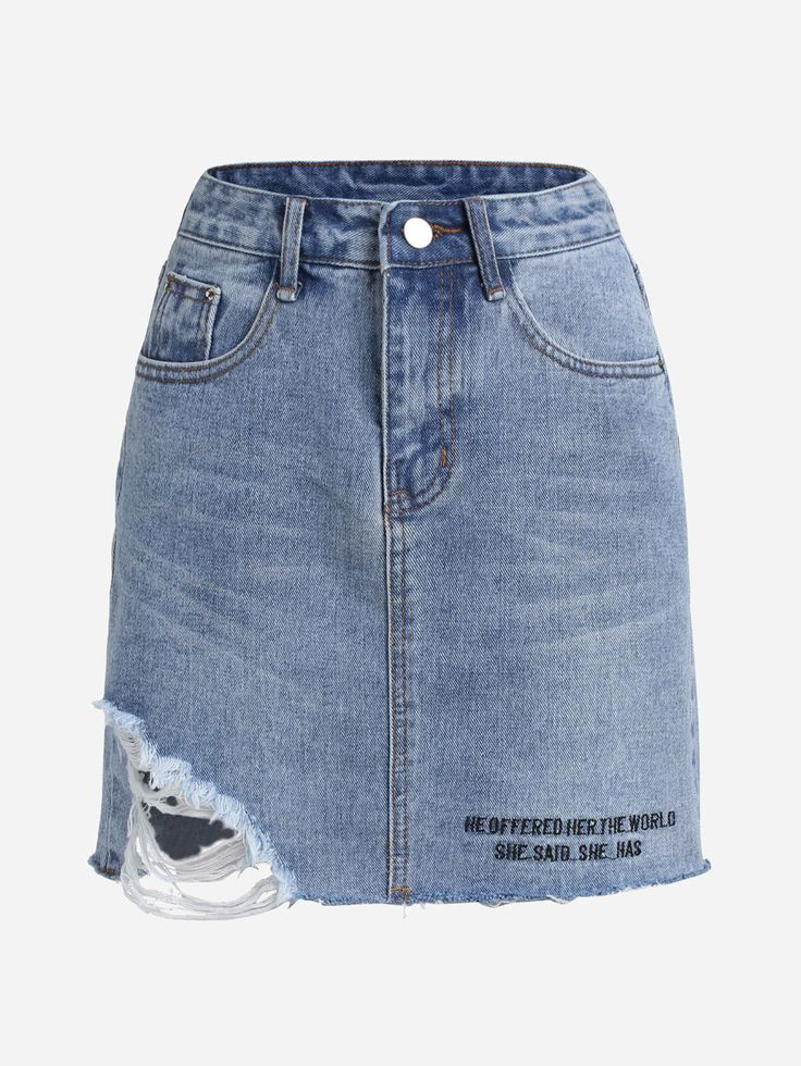 Shop Letter Print Raw Hem Ripped Denim Skirt online. SheIn offers Letter Print Raw Hem Ripped Denim Skirt & more to fit your fashionable needs.