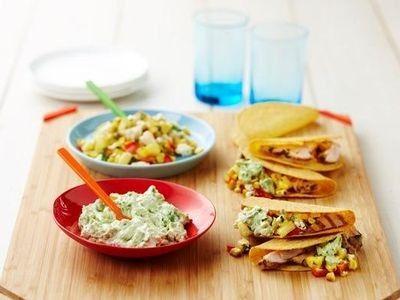Chicken Tacos with Feta Salsa and Avocado Smash recipe